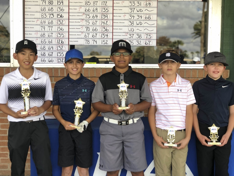 10 & Under (left to right) Gavin Ly, Oliver Uribe, Ajay Morris, Jet Johnson, Cameron Summerhays