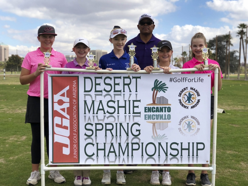 13-14 (left to right) Grace Summerhays, Samantha Oldson, Carolyn Fuller, Harold Fields (Desert Mashie), Kailani Deedon, Brooke McGlasson